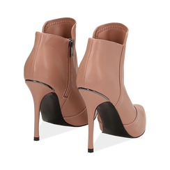 Ankle boots nude in eco-pelle, tacco 10, 50 cm , Scarpe, 142146864EPNUDE035, 004 preview