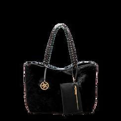 Borsa shopper nera in eco-pelliccia con pochette e portamonete, Saldi, 125702076FUNEROUNI, 001a