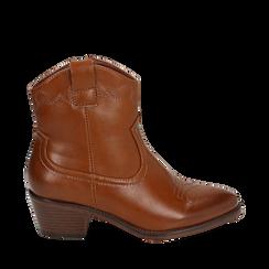 Botas de vaquero color de cuero, tacón 4,50 cm , Primadonna, 150693111EPCUOI036, 001a