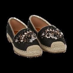 Espadrillas nere in rafia con pietre, Chaussures, 154902098RFNERO, 002 preview