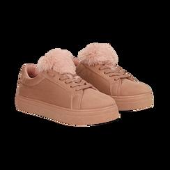 Sneakers nude con pon pon in eco-fur, 121081755MFNUDE036, 002