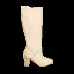 Stivali beige in pelle di vitello, tacco 9 cm, Primadonna, 158900890VIBEIG038, 001a