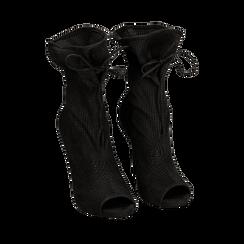 Botines open toe en microfibra perforada color negro, tacón 11 cm, 152182886MFNERO035, 002a