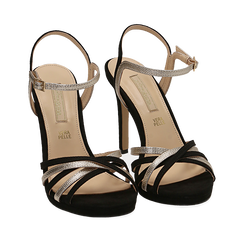 Sandali multilistino neri in microfibra, tacco 10,50 cm, Scarpe, 152174020MFNERO035, 002a