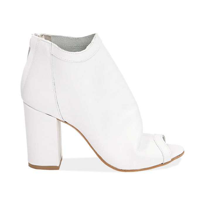 Botines open toe en vitello color blanco, tacón 9 cm, Zapatos, 15A217014VIBIAN035