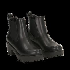 Chelsea boots neri, tacco 6 cm, Primadonna, 162808601EPNERO036, 002a