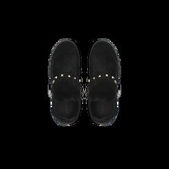 Sneakers nere  slip-on con dettagli faux-fur e borchie, Scarpe, 129300023MFNERO, 004 preview