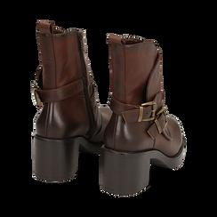 Biker boots cuoio con fibbie in eco-pelle, tacco 7 cm , Scarpe, 143091353EPCUOI, 004 preview