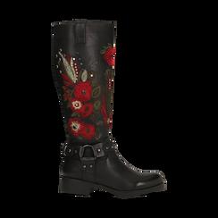 Stivali neri con ricami folk, tacco 3,5 cm, Primadonna, 122808626EPNERO, 001 preview
