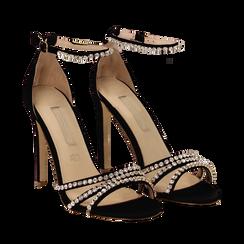 Sandali neri in raso con strass argento, tacco stiletto 11 cm, Scarpe, 132120689RSNERO035, 002a