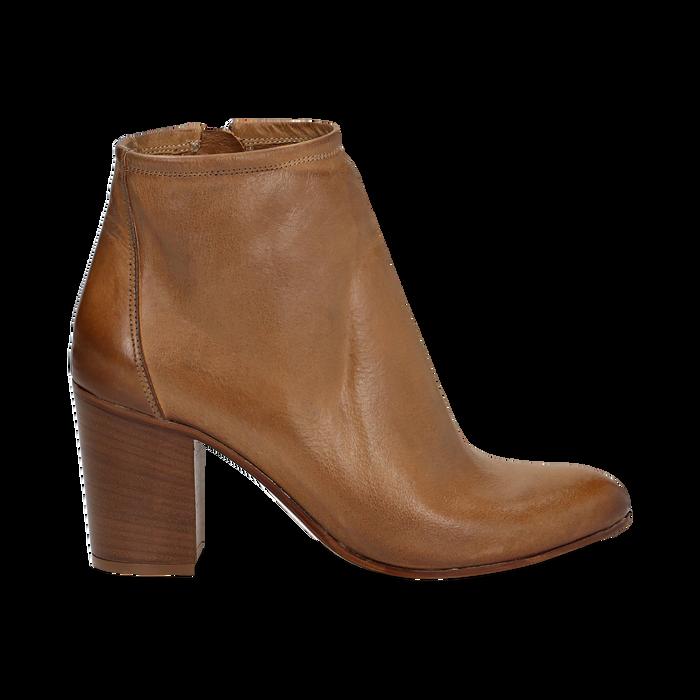 Ankle boots in vera pelle cuoio con tacco in legno 8 cm, Scarpe, 137725901PECUOI039