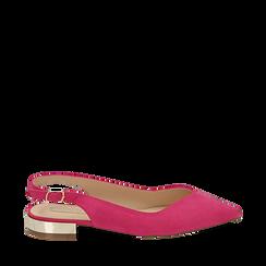 Slingback plate fushia en microfibre, Chaussures, 154987411MFFUCS035, 001a