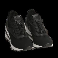Sneakers nere in tessuto con zeppa, Primadonna, 152803421TSNERO035, 002a