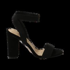 Sandali neri in tessuto elastico, tacco 10,50 cm, Sandali con tacco, 132133877TSNERO036, 001 preview