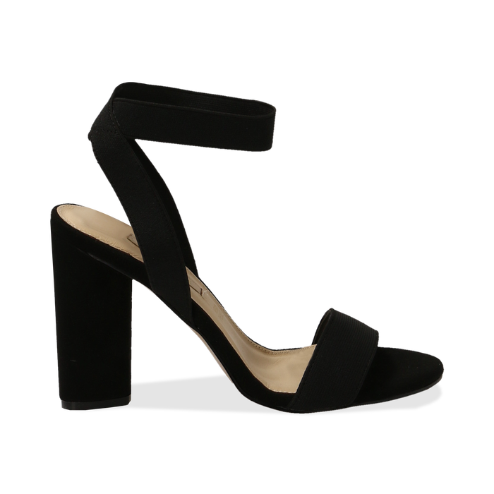 Sandali neri in tessuto elastico, tacco 10,50 cm, Sandali con tacco, 132133877TSNERO036