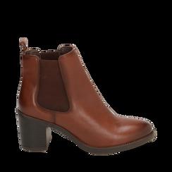 Ankle boots cuoio in pelle, tacco 4,50 cm, Primadonna, 169495750PECUOI037, 001a