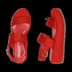 Sandali rossi in microfibra, zeppa 5 cm , Zapatos, 159790136MFCORA036, 003 preview