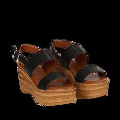 Sandali platform neri in eco-pelle, zeppa 8 cm , Saldi Estivi, 13A133255EPNERO035, 002a