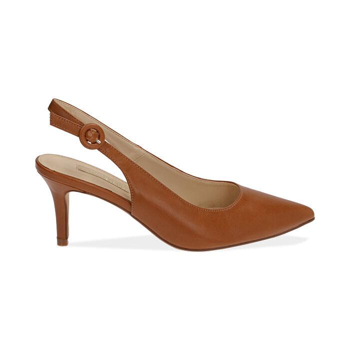 Slingback cognac, tacón 7 cm, Zapatos, 172133673EPCOGN037