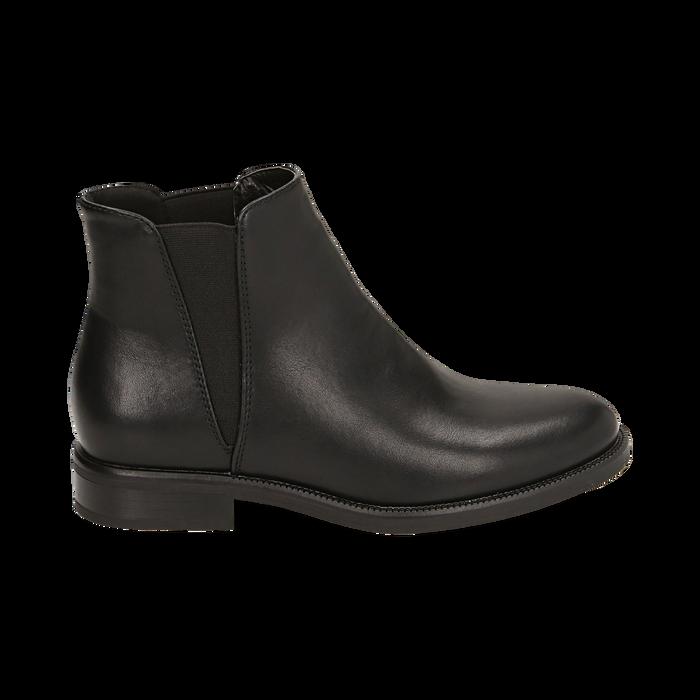 Chelsea boots neri, tacco 4 cm , Primadonna, 160621678EPNERO037