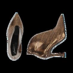 Ankle boots bronzo laminato, tacco 9,5 cm , Primadonna, 165200231LMBRON035, 003 preview
