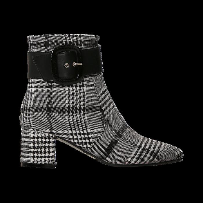Tronchetti tweed con maxi-fibbia, tacco 5 cm, Scarpe, 122707413TSNEBI036