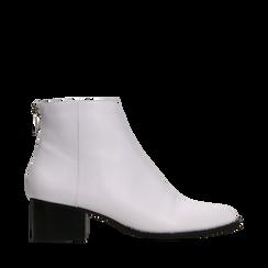 Tronchetti bianchi con zip, tacco medio 4,5 cm, Primadonna, 122752721EPBIAN036, 001a