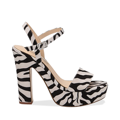 Sandali zebrati in microfibra con plateau, tacco 13 cm, Scarpe, 138404164MFZEBR035, 001a