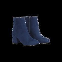 Tronchetti blu scamosciati, tacco medio 5 cm, Scarpe, 122762715MFBLUE, 002 preview