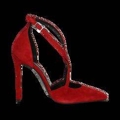 Décolleté rosse in vero camoscio con cinturini incrociati, tacco 10 cm, Scarpe, 12D617112CMROSS, 001 preview