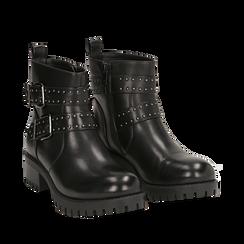 Biker boots con fibbie e borchie neri in eco-pelle, tacco 4,5 cm , Scarpe, 143069629EPNERO036, 002a