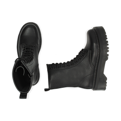 Botas militares en color negro con procesamiento caído, Primadonna, 162831293ELNERO035, 003 preview