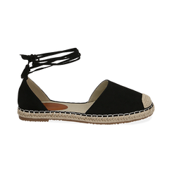 Espadrillas lace-up nere in microfibra, Chaussures, 154933051MFNERO039, 001 preview