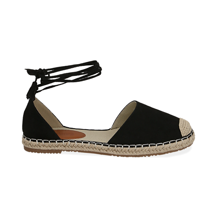 Espadrillas lace-up nere in microfibra, Chaussures, 154933051MFNERO039