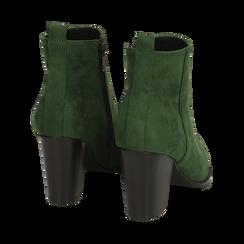 Ankle boots verdi in microfibra, tacco 8,50 cm, Primadonna, 160585965MFVERD035, 004 preview