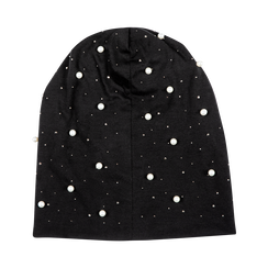 Berretto invernale nero in tessuto con perle, Saldi Abbigliamento, 12B480739TSNEROXXL, 001 preview