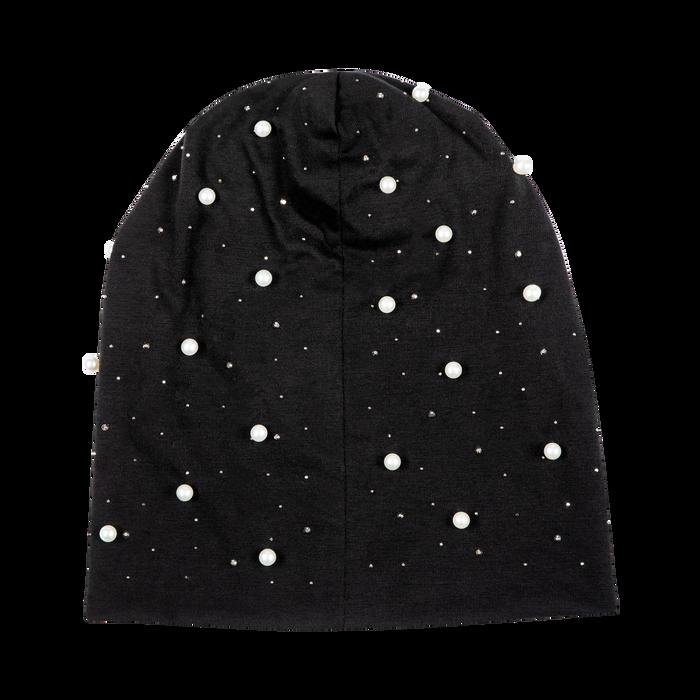 Berretto invernale nero in tessuto con perle, Saldi Abbigliamento, 12B480739TSNEROXXL