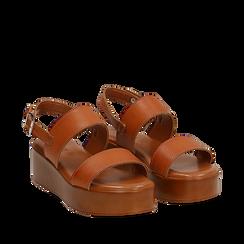 Sandali platform cuoio in eco-pelle, zeppa 5 cm , Primadonna, 13A133254EPCUOI036, 002a
