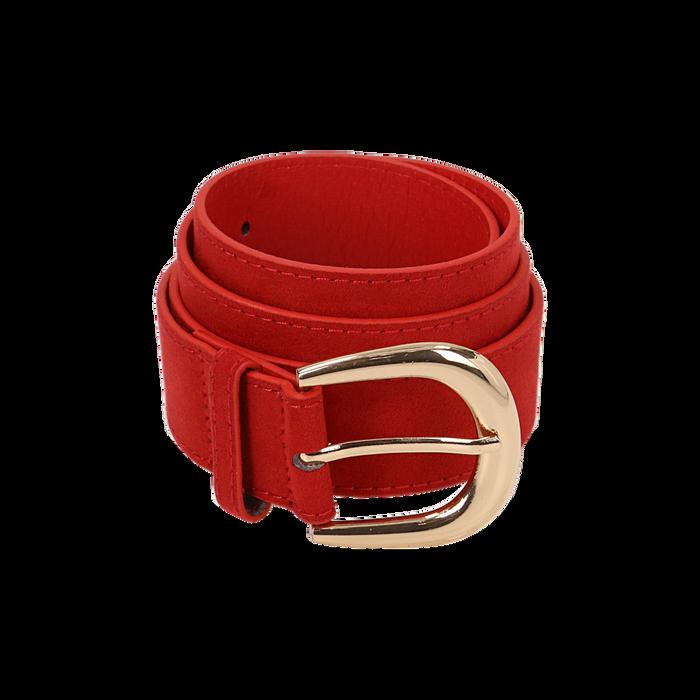 Cintura rossa in microfibra, Abbigliamento, 144045701MFROSSUNI