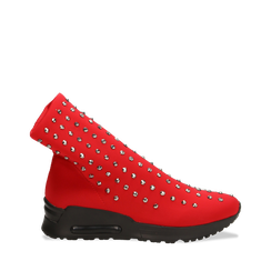 Sneakers rosse slip-on in lycra con cristalli, 122808611LYROSS037, 001a