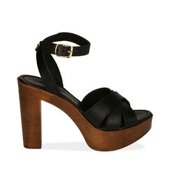 Sandali neri in pelle, tacco 11,5 cm , 174304931PENERO036, 001a