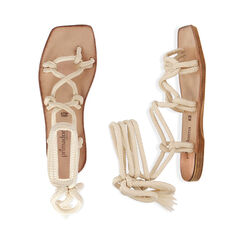 Sandalias de tejido color crema, Primadonna, 17A131482TSPANN035, 003 preview