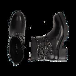 Biker boots con fibbie e borchie neri in eco-pelle, tacco 4,5 cm , Scarpe, 143069629EPNERO036, 003 preview