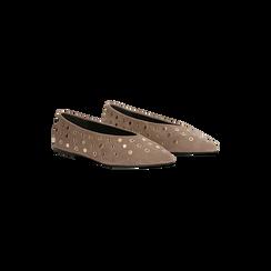 Ballerine taupe in microfibra scamosciata e mini-borchie, tacco basso, Primadonna, 124991821MFTAUP, 002 preview