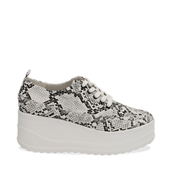 Sneakers bianche e nere in eco-pelle effetto snake print, zeppa 6 cm, Scarpe, 132008353PTBINE037, 001a
