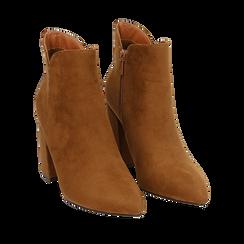 Ankle boots cuoio in microfibra, tacco 9 cm , Primadonna, 162709165MFCUOI037, 002a