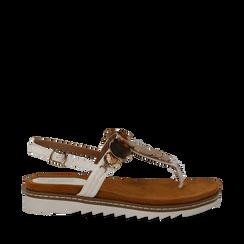 Sandali infradito bianchi in eco-pelle con suola bianca, Scarpe, 134922304EPBIAN035, 001a