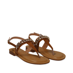Sandali infradito cuoio in eco-pelle con catenella, Primadonna, 134988163EPCUOI035, 002a
