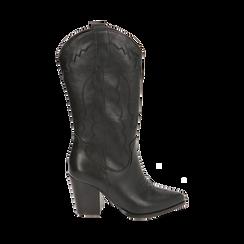 Santiags noirs, talon 8,5 cm, CHAUSSURES, 170581021EPNERO040, 001a