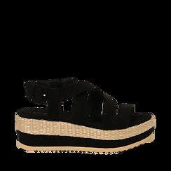 Sandali platform neri in microfibra, zeppa in rafia 5 cm , Saldi Estivi, 134996275MFNERO035, 001a